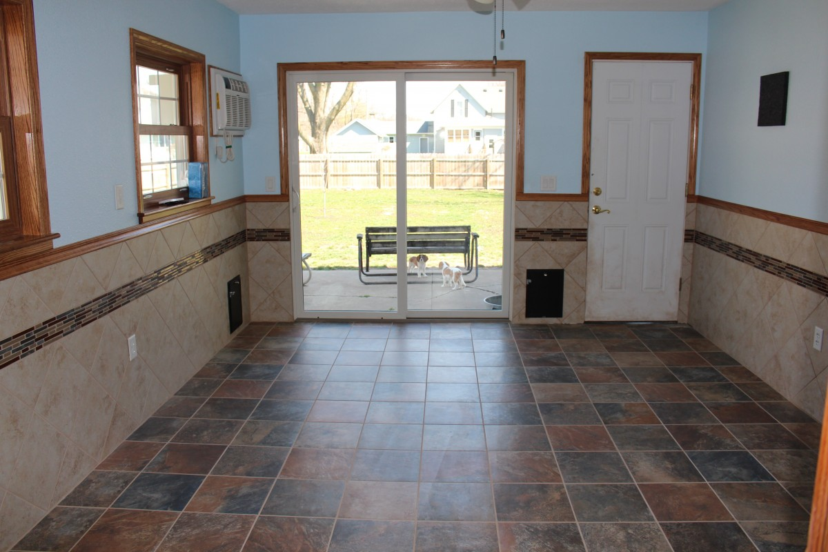 Puppy Playroom with Tile and Patio Door